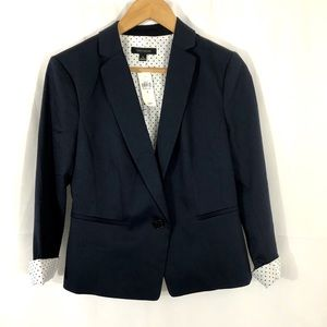 Ann Taylor Navy Blue One Button Blazer Jacket 4